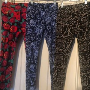 3 pairs OS Rose Print LuLaroe Leggings